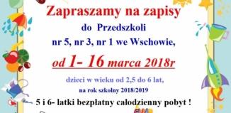 Zapisy do przedszkoli publicznych nr 5, 3 i 1 do 16 marca