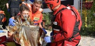 Strażacy przeprowadzili ćwiczenia na Jeziorze Sławskim